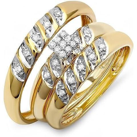 0,20quilates (quilates) Oro Amarillo De 10K Diamante redonda señoras y para hombre novia anillo de compromiso Trio Set 1/5ct