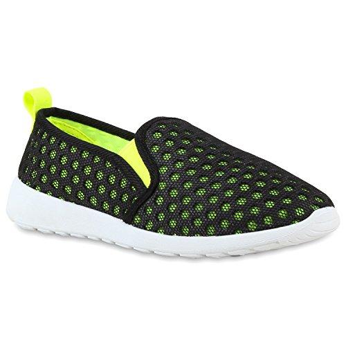 Senhoras Desportivo Deslizamento-ons Convenientes Sneakers Deslizador Leves Neon Amarelo Preto