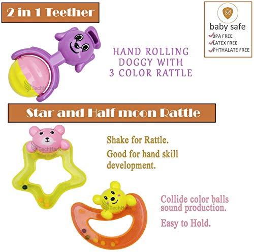 Techhark® Set of 8 PCs High Quality Rattles for Babies [ Non-Toxic & BPA Free ]