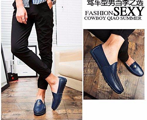 Les Chaussures En Cuir Correspond À Korean Summer Doug Pédale Paresseux Souliers Blue