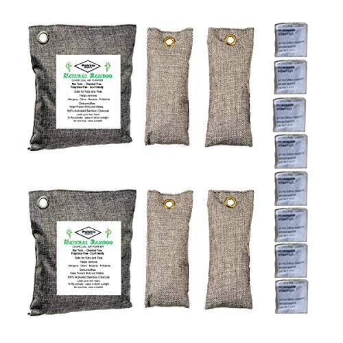 Palkkio - Deodorante Naturale di bambù Carbone Attivo purifica Aria elimina odori Deodorante per la casa, Auto, RV. 100% Non-Chimico 100% Non-tossico (2 x 200gr, 4 x 75 gr, 8 bustine)