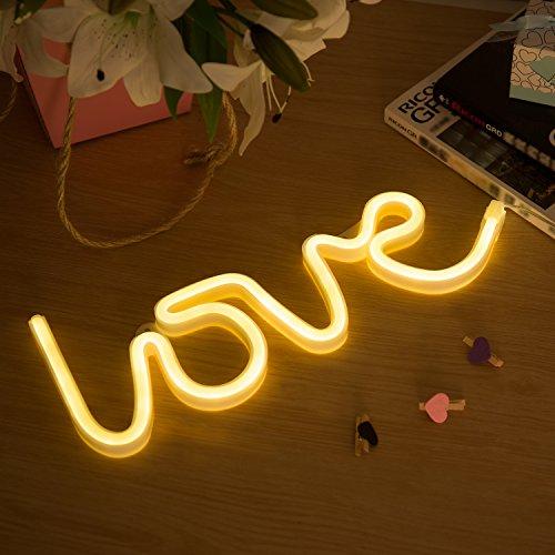 Zewoo led neon night light, lampada led indoor decor night lamps, batteria e usb power neon light sign decor per matrimonio compleanno festa di natale camera da letto soggiorno (love)