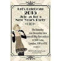 10x Personalizzato Capodanno Inviti per feste aziendali Vintage Art Deco (Bianco Della Carta Dell'invito)