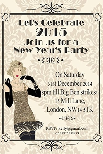 ar New Years Eve Corporate Party Einladungen Vintage Great Gatsby Art Deco ()