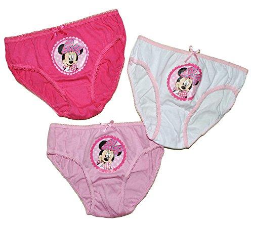3 TLG. Slip / Unterhosen -  Disney Minnie Mouse  - Größe 4 bis 5 Jahre - Gr. 110 bis 116 - 100 % Baumwolle - für Kinder Pants Unterhose Slips Punkte Mickey ..