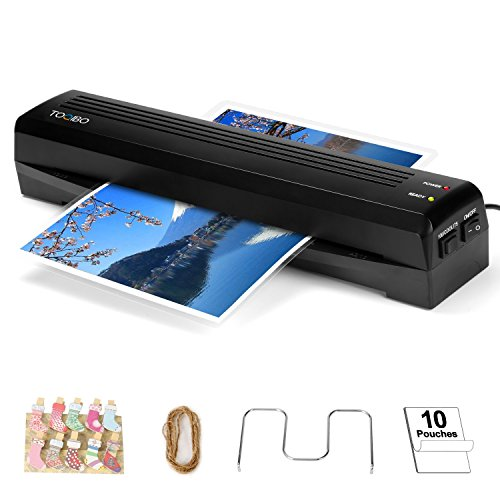 Laminator TOQIBO Laminator A3 A4 Laminating Machine 2 rollers with 250mm/min Quick Warm-up Laminating Speed, 340mm A3 Max Width for Document/Photo/Hand Card [+10 Photo Peg Clip/+10 laminating pouches] Test