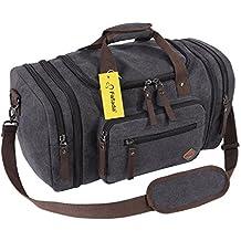 Fafada 40L 45L vintage Canvas Reisetasche Erweitbare Sporttasche Weekender Tasche für Damen und Herren mit der Großen Kapazität