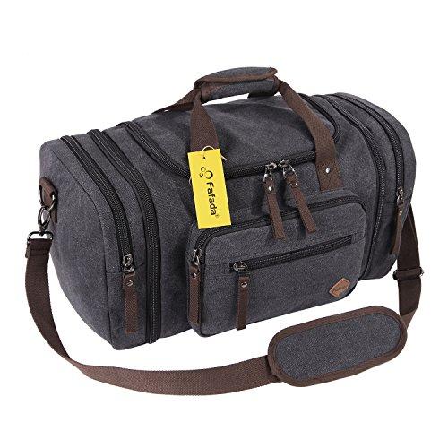 Fafada Reisetasche Herren Damen 40L Canvas Handgepäck Sporttasche Erweiterbare Groß Handtasche Schultertasche Schwarz