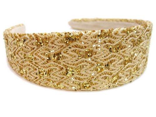 rougecaramel - accessoires cheveux - Serre tête/headband large paillette - doré
