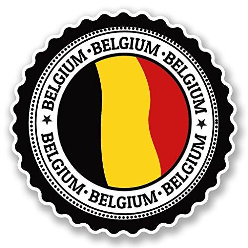 2 x 10cm/100 mm Bélgica Etiqueta autoadhesiva de vinilo adhesivo portátil de viaje equipaje signo coche divertido #4757