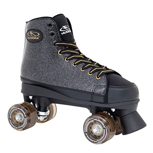 HUDORA Rollschuhe Roller-Skates Black Glamour, Disco-Roller, Gr. 37, 13091