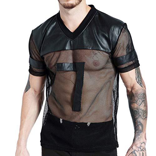 HEETEY Lässige Sommer Herrenbluse, Herren-Mesh-durchsichtiger V-Ausschnitt Kurzarm Sport T-Shirt Top Bluse Atmungsaktives Sportshirt -