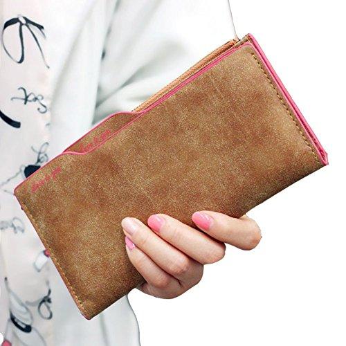 Minetom Donne Colore Della Caramella PU Leather Portafoglio Lungo Breve Porta Monete TitolareDellaCartaPochettePortafoglio Borsetta ( Verde 2 ) Cachi 1