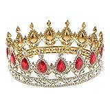 Diadème Couronne de Reine en Strass Tiare de Roi Cristal Bijoux de Cheveux pour Spectacle Anniversaire Mariage - Rouge