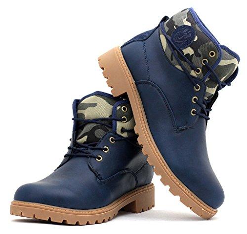 Hommes Bottine Militaire Chaussures À Lacets Décontracté Randonnée Marche Taille Bleu Marine