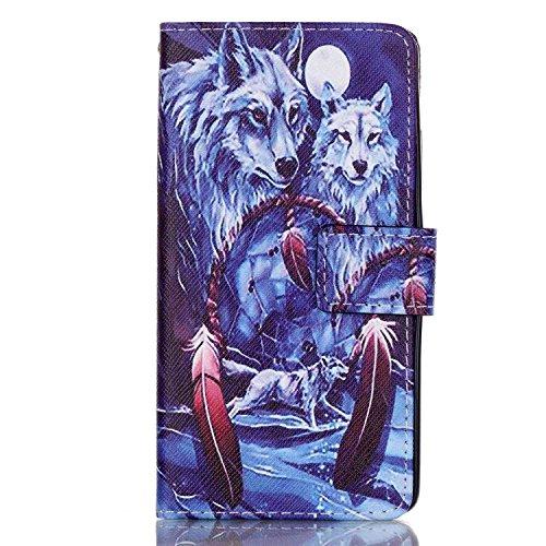Sunroyal Apple iPhone 5CBlatt Textur Flip Buch Stil Bookstyle Handschlaufe Wallet Case Schutz Hülle Schale Tasche Etui mit Kartenfach, Standfunktion, Magnetverschluss + 1x 3.5mm Universal Schleife Kri Wolf