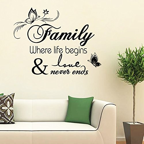 51QdbJF9dHL UK BEST BUY #1Wall Sticker Paper Mural Art Decal Home Room Decor Office Wall Mural Wallpaper Art Sticker Decal for Home Bedroom Family Where Life Begins Butterfly Living Room Bedroom price Reviews uk