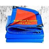 EaglesFord Tarpaulin UV Treated Pure Virgin Waterproof 90 GSM Plastic Sheet (12x9 ft, Yellow)