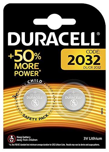 Duracell Specialty 2032 Lithium-Knopfzelle 3V, 2er-Packung (CR2032/DL2032 entwickelt für die Verwendung in Schlüsselanhängern, Waagen, Wearables und medizinischen Geräten.