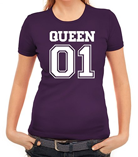 Valentinstag Hochzeit Paar Partner Valentine Damen T-Shirt mit Queen 01 vorne Motiv Lila
