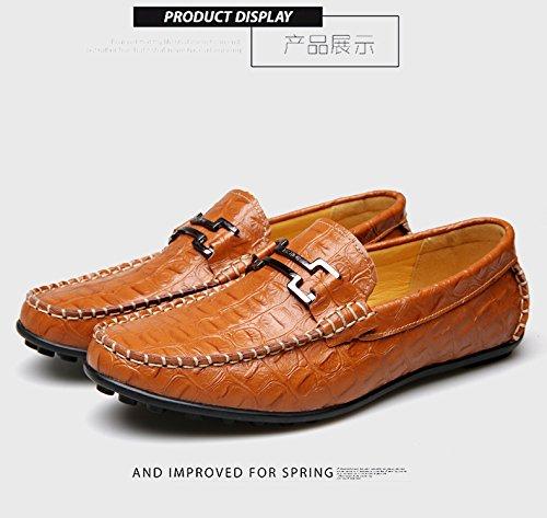 Homme Chaussures Cuir Mode à Enfiler Mocassin Habillé Derby Décontracté Marron