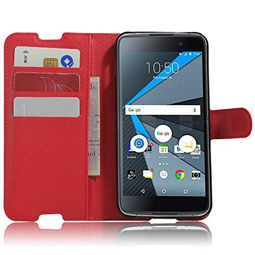 iBetter BlackBerry DTEK50 Smartphone Mappen Kasten, Premium PU Leder Mappen Kasten für BlackBerry DTEK50 Smartphone, Rot