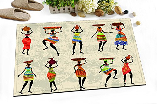Alfombrilla de Baño Ultra Suave Antideslizante 60X40cm Mujeres africanas Estera alfombra Para la decoración de la cocina del cuarto de baño
