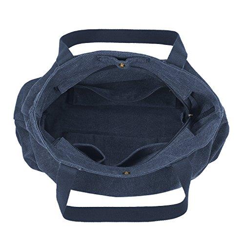 SMRITI Borsa Tote a tracolla in tela di cotone Shopping Bag - Blu 2 Blu