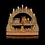 Gro�er 3D Schwibbogen Winterlandschft mit LED-Beleuchtung, drehender Pyramide und Timer - Hochwertig und detailreich verarbeitet - Weihnachtsdekoration (Silber)