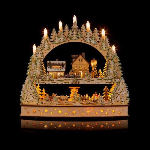 Großer 3D Schwibbogen Winterlandschft mit LED-Beleuchtung, drehender Pyramide und Timer - Hochwertig und detailreich verarbeitet - Weihnachtsdekoration (Silber) -