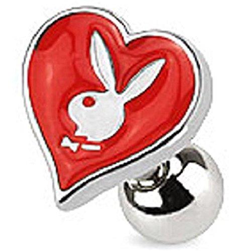 Offizielle lizenzierte Playboy Red Enamel Herz Card Anzug und Bunny Tragus oder Knorpel Piercing Dicke: 1.2mm Länge: 6mm Ball Größe: 4mm Material: Chirurgische (Kostüm Bunny Scary)