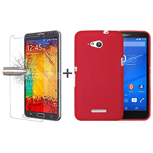 TBOC® Pack: Rot Gel TPU Hülle + Hartglas Schutzfolie für Sony Xperia E4g E2003 E2006 E2053. Ultradünn Flexibel Silikonhülle. Panzerglas Displayschutz in Kristallklar in Premium Qualität.