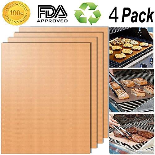 ZZZM Grill- und Backmatte, wiederverwendbar, leicht zu reinigen, hitzebeständig, 60 x 40 cm, 4 Stück coffee