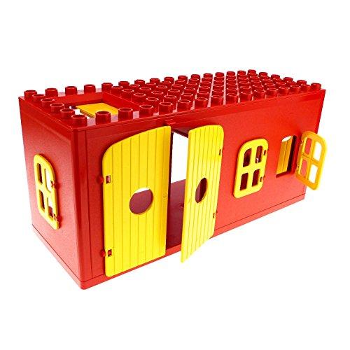 Bausteine gebraucht 1 x Lego Duplo Gebäude Scheune rot gelb 6x16x6 gross Haus Bauernhof Stall Puppenhaus Fenster Tür Tor Set 2655 4808 4807 bb265 4802 4800 -