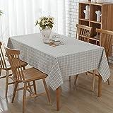 Retro Cotton Linen Table cloths, Rechteck Tisch Esstisch für Hotel Kaffee Restaurant Esstisch Dekoration, fleckabweisendes, Wärme und Feuchtigkeit Widerstand (140 x 200 cm, Grau Gitter)