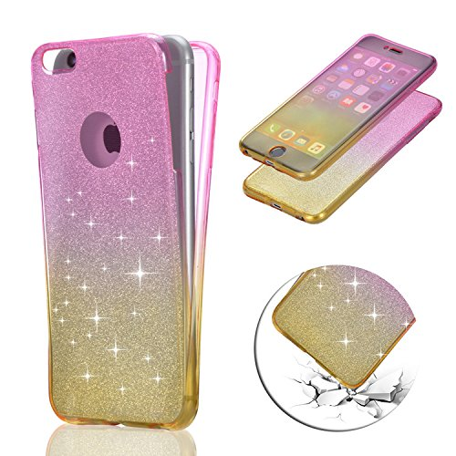 iPhone 7 Coque Gel TPU Silicone Etui Intégrale Transparent Case pour iPhone 7 / iPhone 8 4.7 Pouces Housse Protection Full Silicone Souple Case,Vandot iPhone 7 / iPhone 8 Ultra Mince Fine Slim Leger T Glitter - Rose Rouge+Jaune