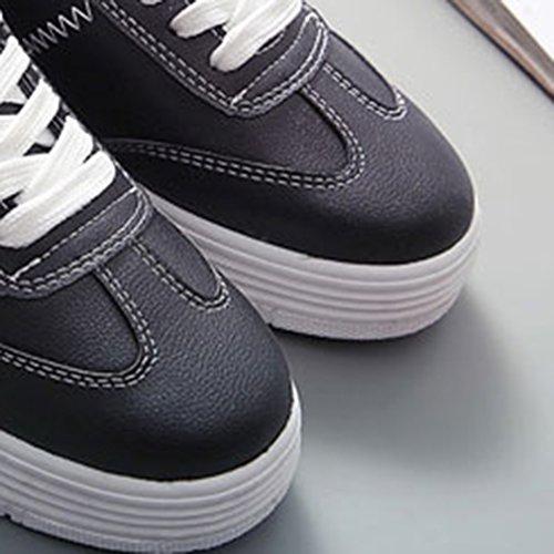 La Vogue Basket Basse Lacet PU Cuir Chaussure Homme Femme Mixte Classique Sneaker Tennis Noir