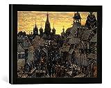 Gerahmtes Bild von 17. Jahrhundert Alt-Moskau, Kunstdruck im hochwertigen handgefertigten Bilder-Rahmen, 40x30 cm, Schwarz matt