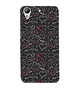 99Sublimation Animation On love symbols 3D Hard Polycarbonate Back Case Cover for HTC Desire 728