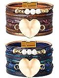Tatuo 2 Piezas de Brazaletes de Cuero Pulsera de Multi Capa de Corazón de Perlas para Mujeres Niñas Niños Regalo (Azul, Marrón Oscuro)