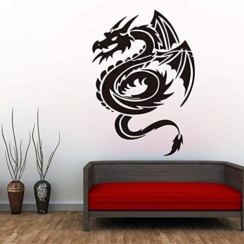 Fengdp Chinesischer Drache Wandaufkleber Für Kinderzimmer Wanddekor Wandkunst Aufkleber Poster Tapete Vintage Dekoration Acces 41 * 59 cm