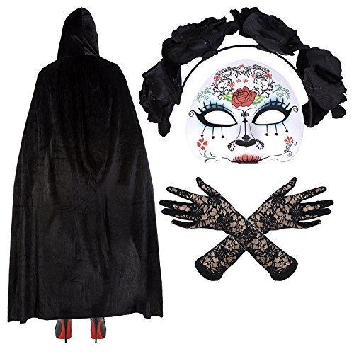 Damen Mexikanisch Zuckerschädel Tag Der Toten Halloween Kostüm - Maske/Stirnband/Velvet Umhang/Spitzenhandschuhe - (Der Masken Tag Toten)