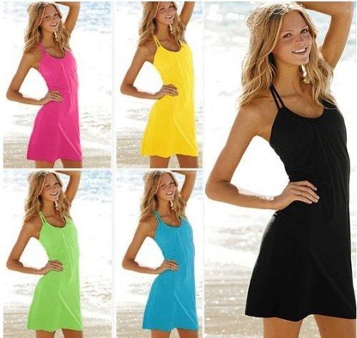 SODACODA Loisirs robe de plage d'été de dames - sans manche - robe soirée d'été figure-fin - longueur genou - disponible en différentes couleurs et tailles (S-XL) Blanc
