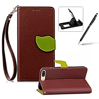 Herzzer Strap Leather Case for iPhone 6S,Coffee Wallet Flip Cover for iPhone 6, Classic Unique Magnetic Leaf Buckles Design Full Body Card Slots Stand Folio Synthetic Leather Case with Soft Silicone