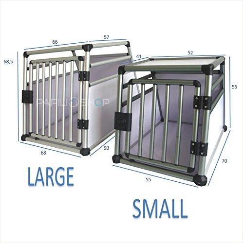 Polironeshop Transportbox für Hunde, Haustiere, Modell: Deluxe, Käfig für den Kofferraum, aus Aluminium L