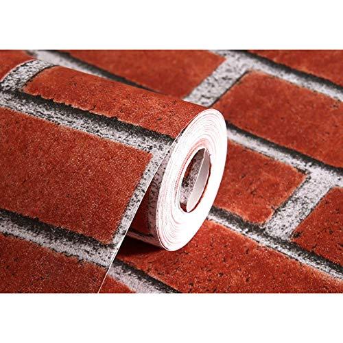 e Brick Strukturierte Tapete Für Wände Wohnkultur Geprägte 3D Tapetenrollen Für Schlafzimmer Wohnzimmer Sofa Tv, Rot ()