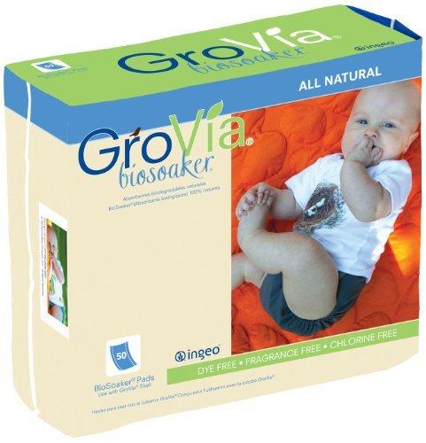 GroVia Bio Soaker Pads 50-Count, White by (Soaker Pad)