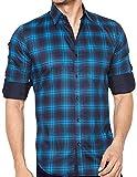 Global Rang Men's Cotton Casual Shirt (Navy Blue, 44)