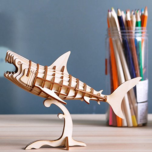 ROLIFE Creativity Toys Building Craft Puzzles-Wooden 3D Puzzle Model Kits- Mini Animals Toy Kit-Best Educational Gifts for Boys and Girls(Shark)