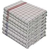 Lot de 10torchons– 100% coton–Lavable  à 95° et au chlore - Supporte des températures élevées - Taille 50cm x 70cm Couleur 5x Bleu 5x Rouge